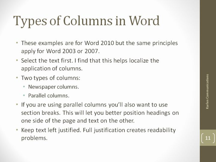 Types Of Columns In Word
