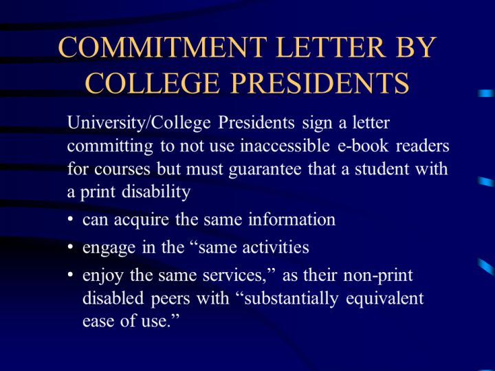 Commitment Letter By College Presidents
