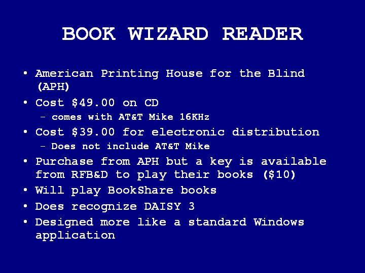 BOOK WIZARD READER