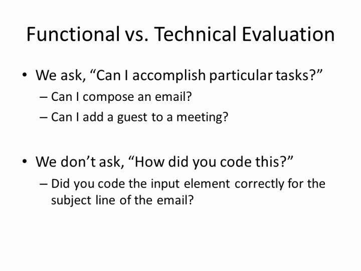Functional Vs Technical Evaluation